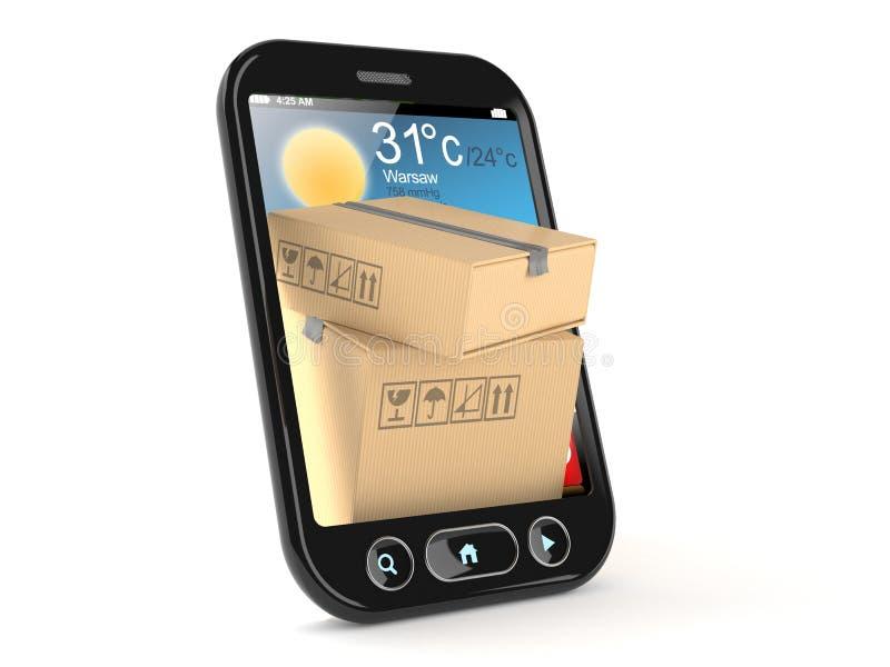 在智能手机里面的包裹 向量例证