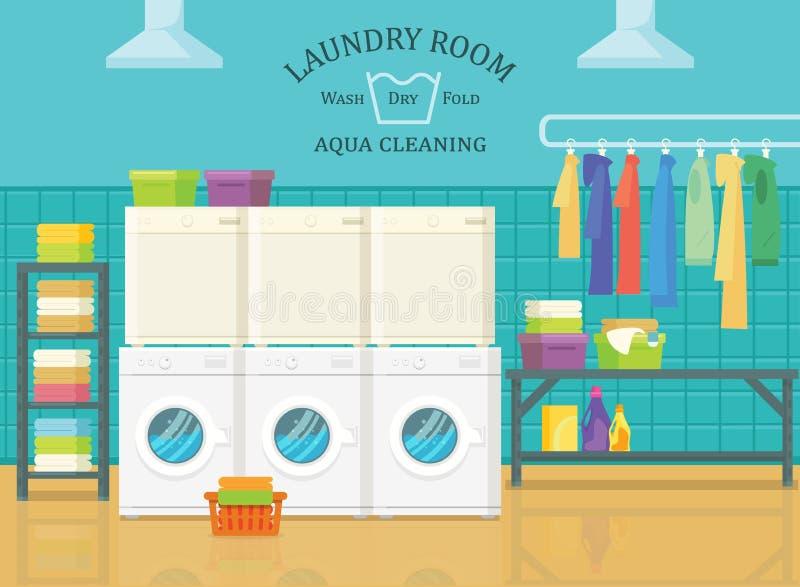 在洗衣房,明确清洁的内部看法 皇族释放例证