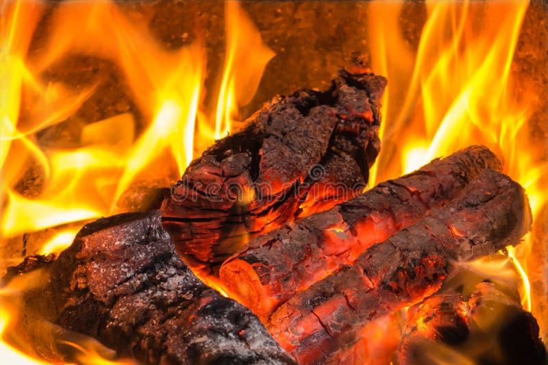 在火的热的煤炭,火焰上升的舌头在木柴的 免版税库存照片