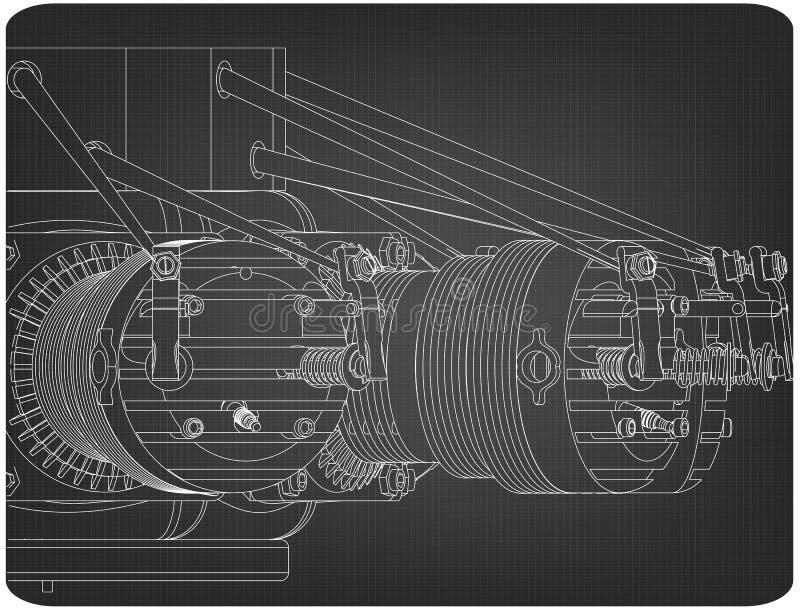 在灰色的星形发动机 皇族释放例证