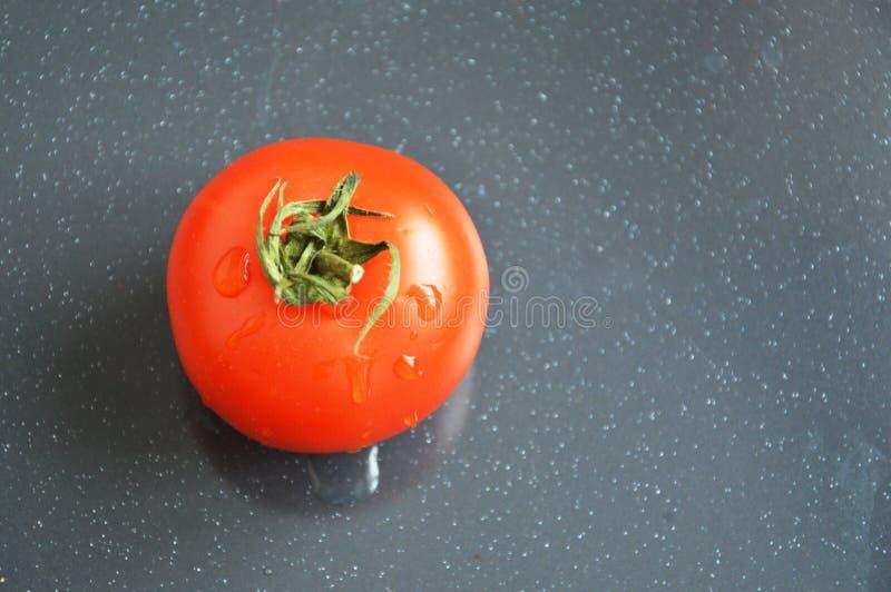 在灰色背景的水多的红色蕃茄 库存照片