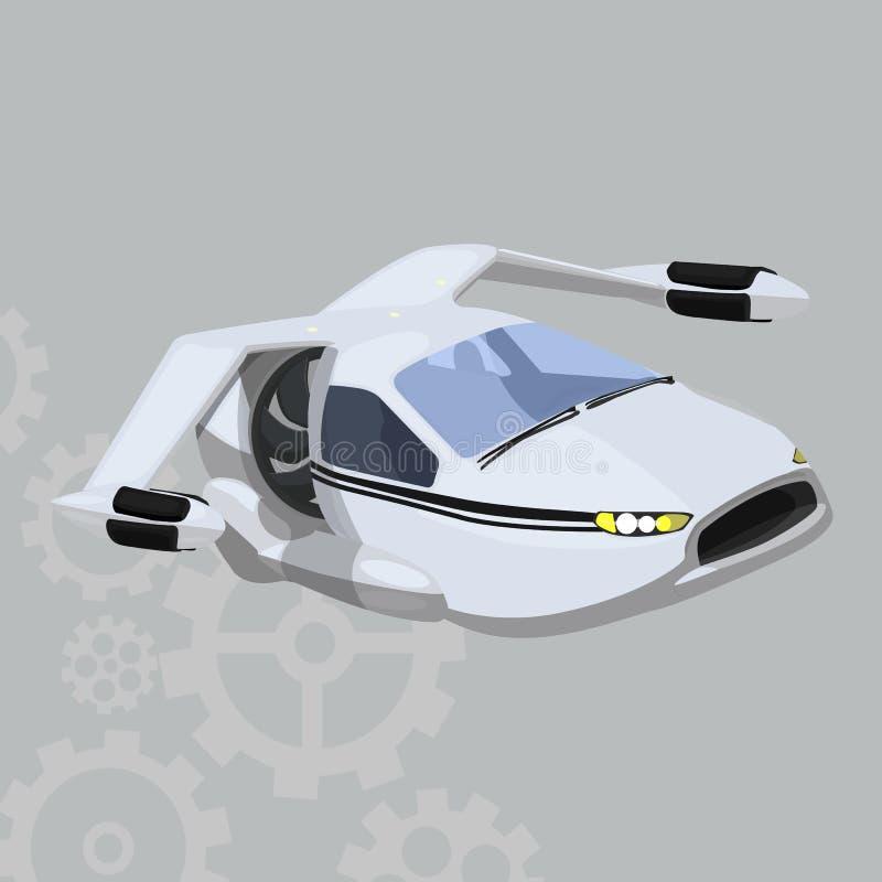 在灰色背景的飞行的汽车传染媒介象 在灰色隔绝的未来派电车例证 飞机现实样式 皇族释放例证