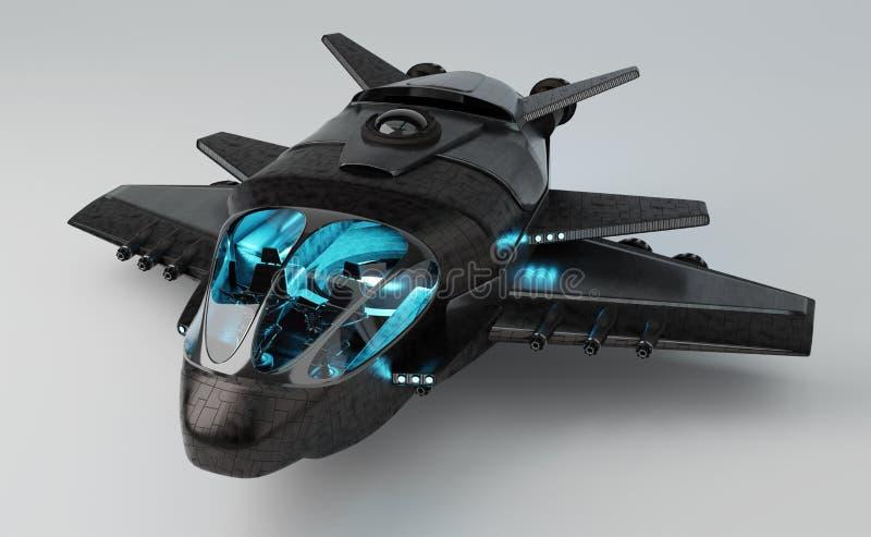 在灰色背景3D翻译隔绝的未来派航天器 向量例证