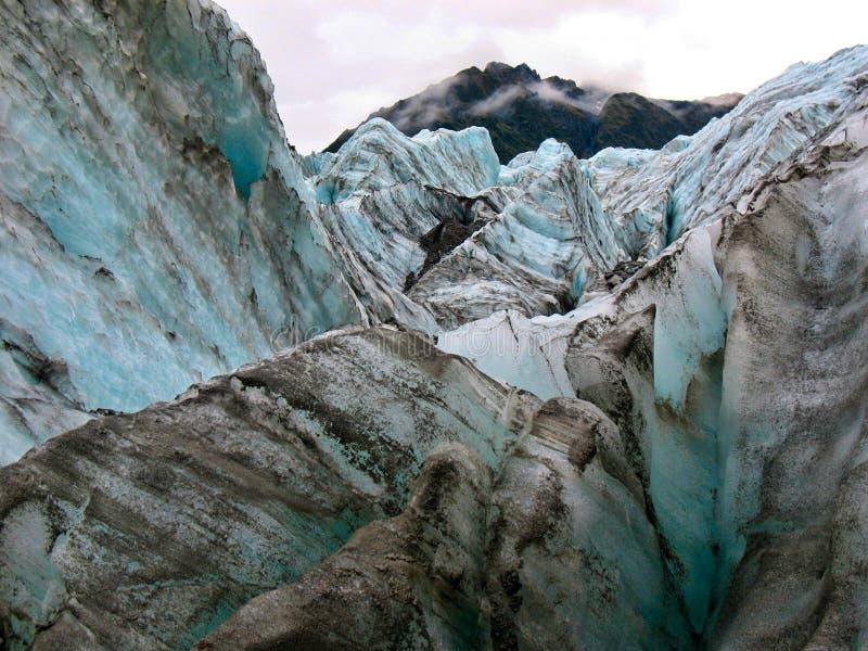 在福克斯冰川,新西兰的冰冷的看法 库存图片