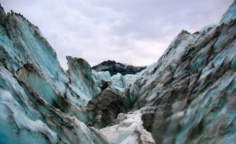 在福克斯冰川,新西兰的冰冷的看法 库存照片