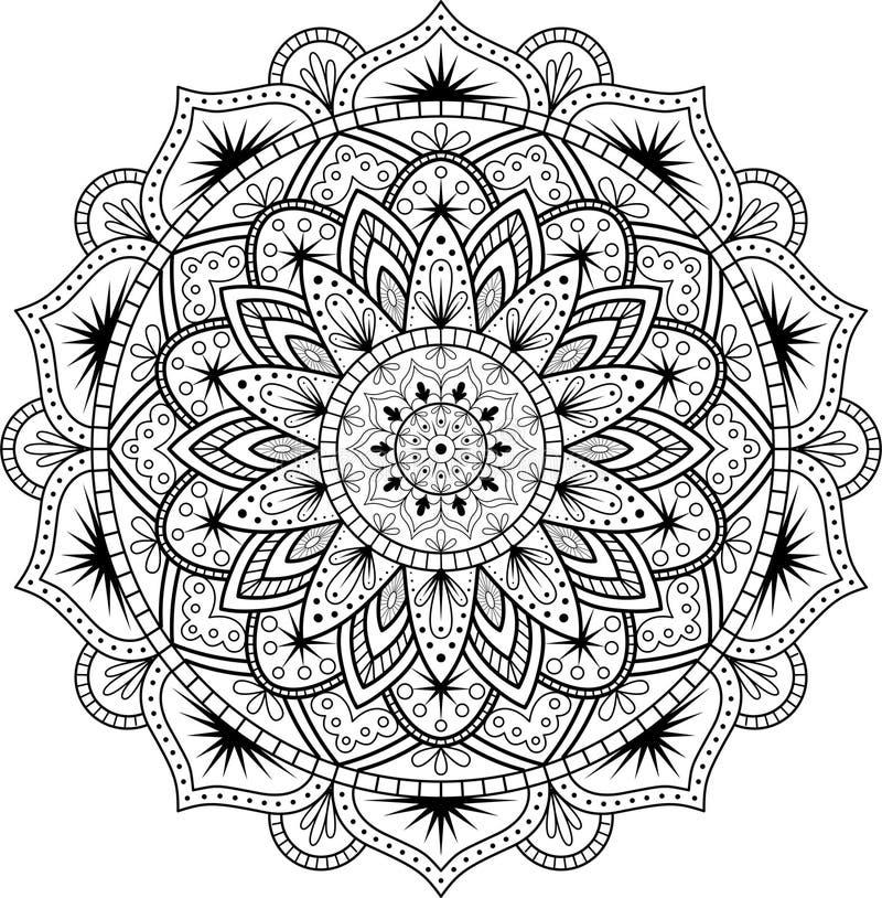 在种族东方样式的装饰装饰品 圆样式以坛场的形式无刺指甲花的, Mehndi,纹身花刺,装饰 向量例证