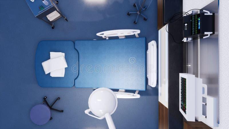 在空的医院病床3D翻译下看法的上面  皇族释放例证