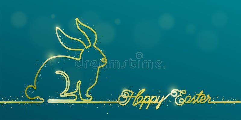 在简单的金子的愉快的复活节横幅背景与亮光兔宝宝的一线型,招呼文本、闪烁微粒和拷贝 皇族释放例证