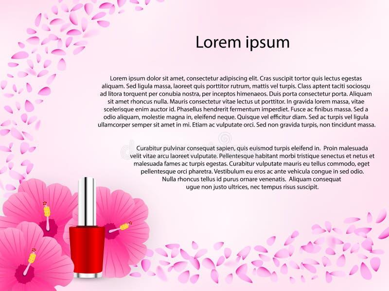 在粉色的化妆花卉背景 向量例证