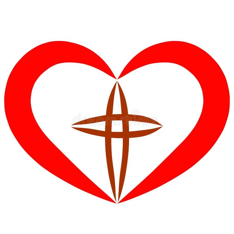 在红心中间的基督徒十字架,象征主义 皇族释放例证