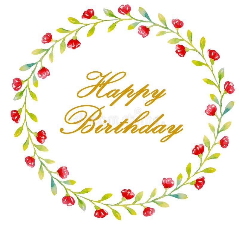 在红色花和绿色小叶子花圈的生日快乐金黄信件卡片的,问候 皇族释放例证