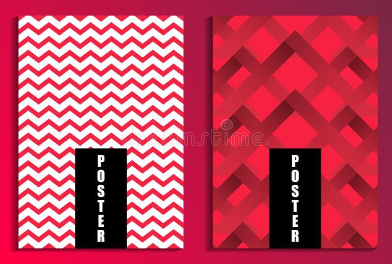 在红色背景海报集合的之字形 背景计算机方式模仿屏幕 小册子设计模板 向量 皇族释放例证