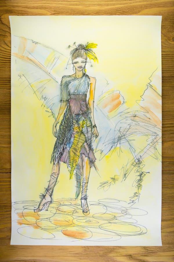 在纸的画的衣裳与铅笔 向量例证