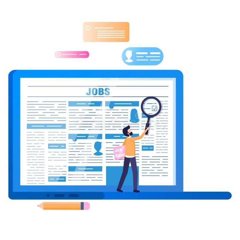 在线作业查寻 有报纸的膝上型计算机在屏幕上 向量例证