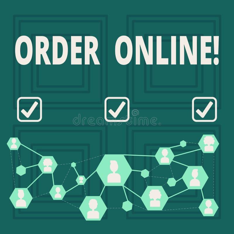 在网上显示命令的概念性手文字 企业照片陈列的购买某事在互联网电子商务 向量例证