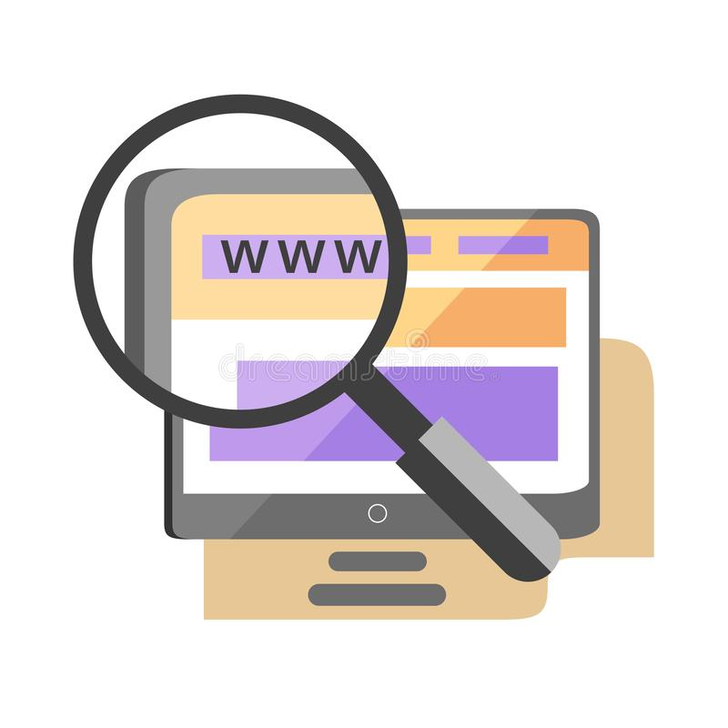 在网站象,seo服务概念的放大镜 皇族释放例证
