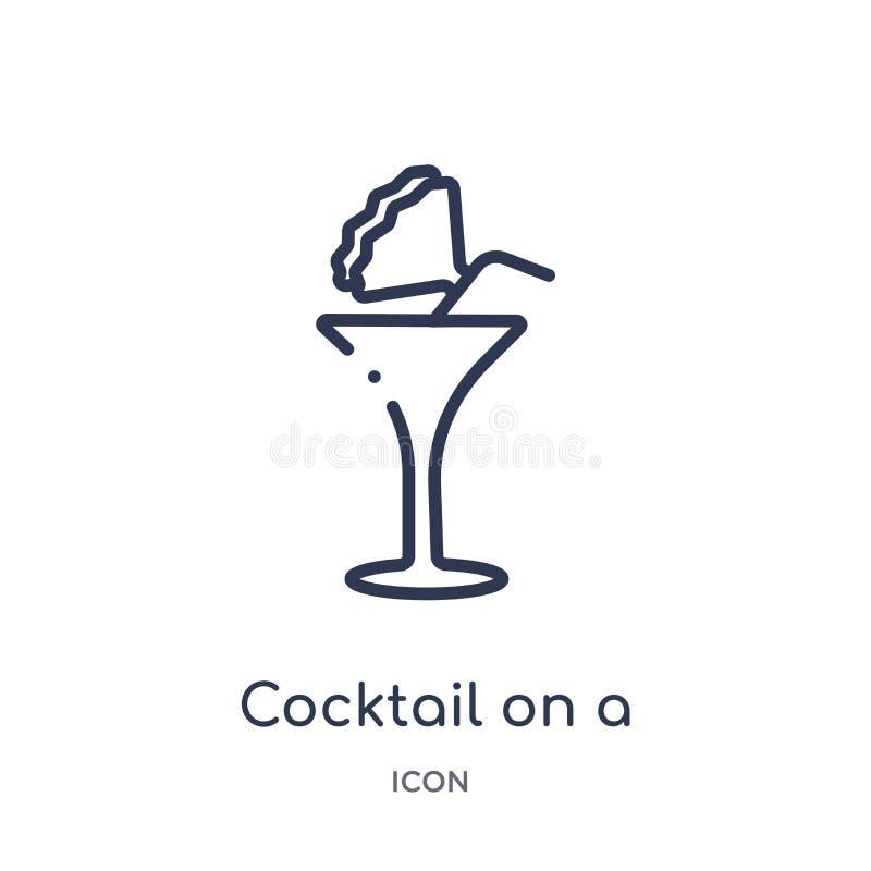 在玻璃象的线性鸡尾酒从食物概述汇集 在白色背景隔绝的玻璃象的稀薄的线鸡尾酒 皇族释放例证