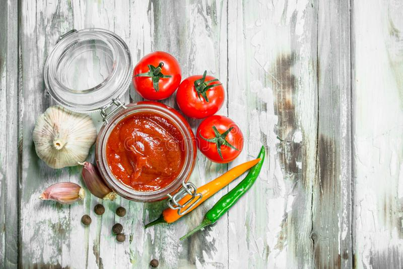 在瓶子和香料的西红柿酱 库存照片