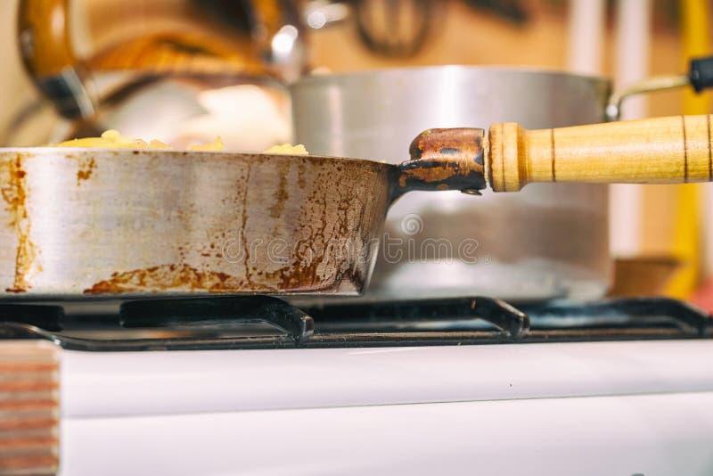 在煤气炉特写镜头的平底锅 鸭子表单厨房精密支持器物 免版税库存图片