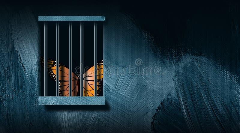 在监狱酒吧图表抽象背景后的蝴蝶 皇族释放例证
