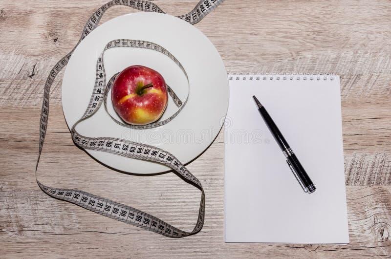 在白色板材、笔记本和笔的小红色苹果在灰色桌上 库存照片