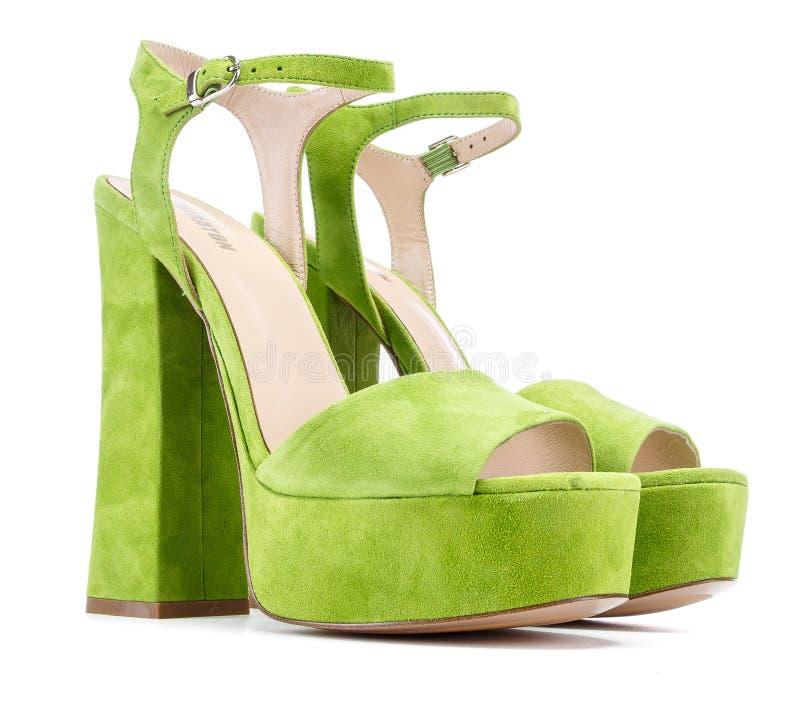 在白色的妇女的绿色天鹅绒高跟鞋鞋子 库存图片