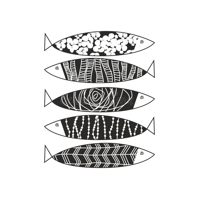 在白色的手凹道黑鱼 库存例证