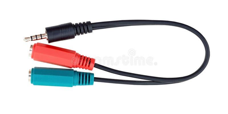 在白色的计算机缆绳 库存图片