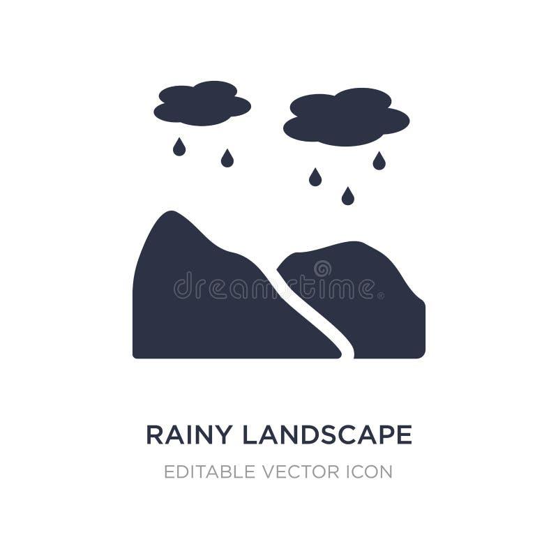 在白色背景的多雨风景象 从自然概念的简单的元素例证 库存例证
