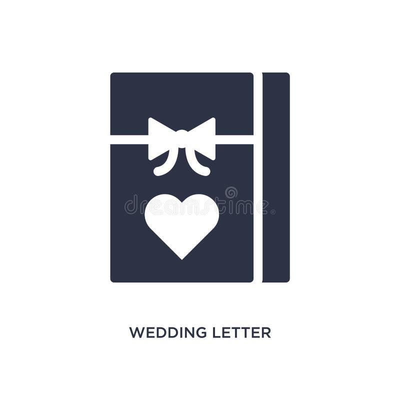 在白色背景的婚姻的信件象 从生日宴会和婚姻的概念的简单的元素例证 向量例证