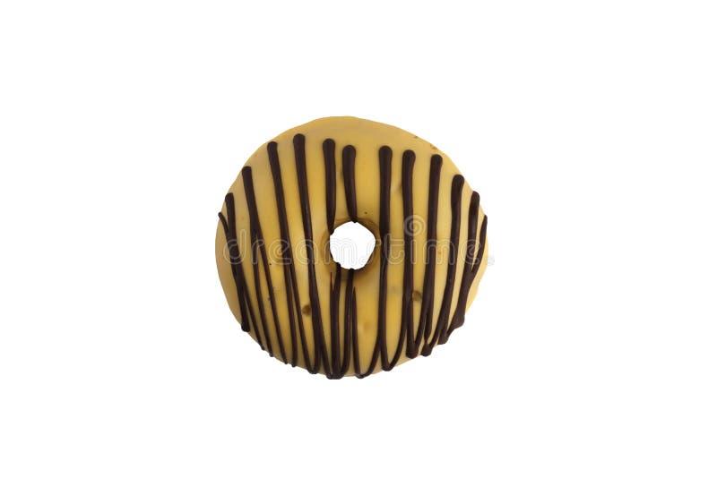 在白色背景的开胃香蕉调味的多福饼 查出 免版税库存照片