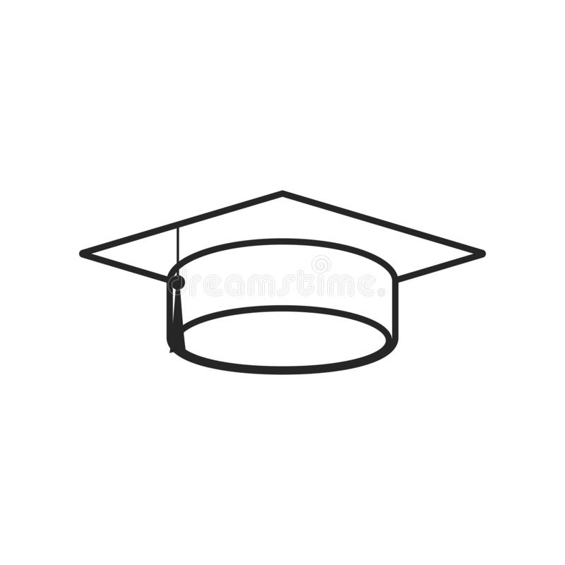 在白色背景的毕业盖帽平的象,任何场合的 库存例证