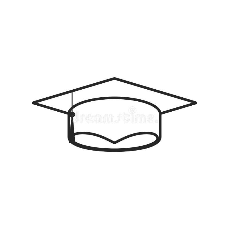 在白色背景的毕业盖帽平的象,任何场合的 皇族释放例证