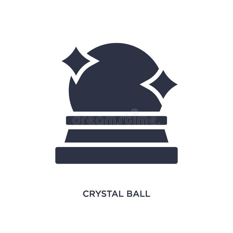 在白色背景的水晶球象 从不可思议的概念的简单的元素例证 库存例证