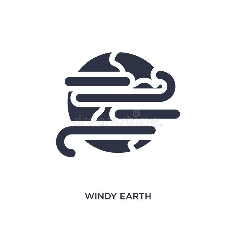 在白色背景的有风地球象 从气象学概念的简单的元素例证 向量例证