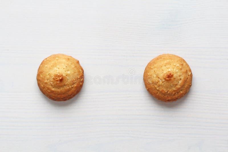 在白色背景的曲奇饼,相似与女性乳头 以曲奇饼的形式乳头 幽默,双重意思 库存图片
