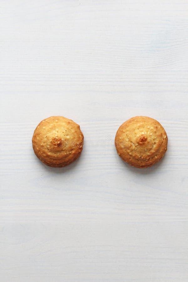 在白色背景的曲奇饼,相似与女性乳头 以曲奇饼的形式乳头 幽默,双重意思 免版税库存照片