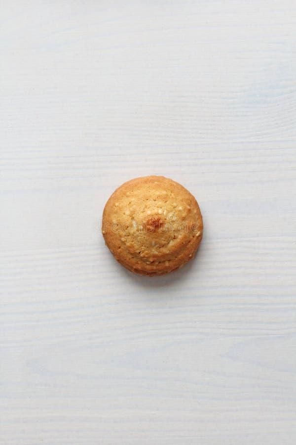 在白色背景的曲奇饼,相似与女性乳头 以曲奇饼的形式乳头 幽默,双重意思 免版税图库摄影