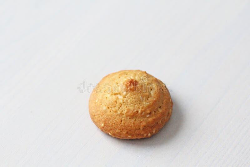 在白色背景的曲奇饼,相似与女性乳头 以曲奇饼的形式乳头 幽默,双重意思 图库摄影