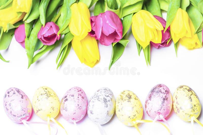 在白色背景的新鲜的郁金香用色的复活节彩蛋 愉快的复活节 免版税库存图片