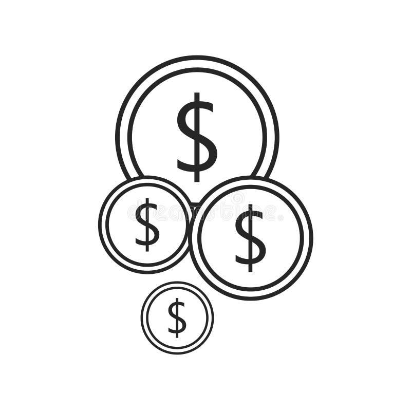 在白色背景的硬币平的象,任何场合的 皇族释放例证