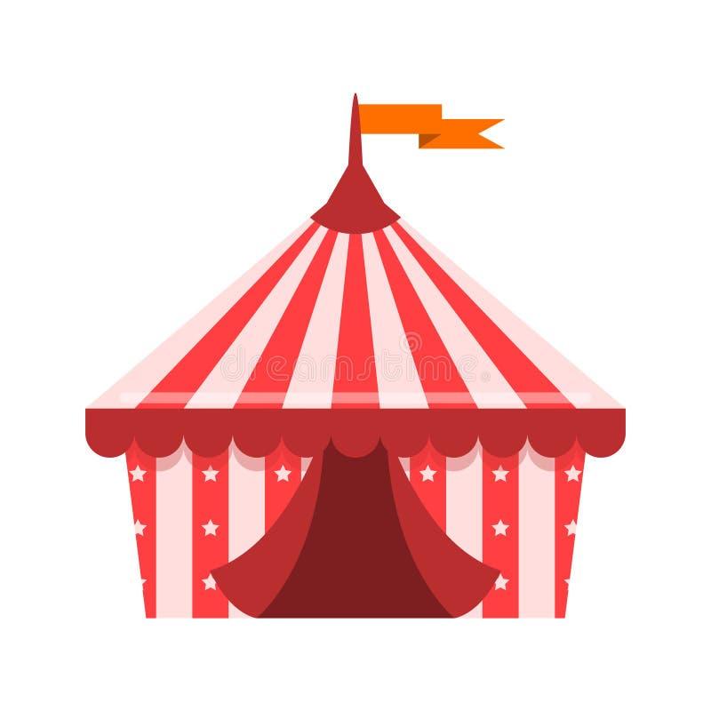 在白色背景的现代马戏场帐篷动画片例证 库存例证