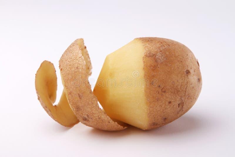 在白色背景的被剥皮的土豆 免版税库存图片
