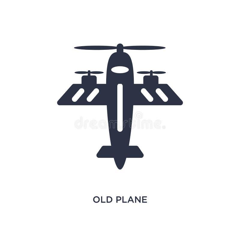 在白色背景的老平面象 从机场终端概念的简单的元素例证 库存例证