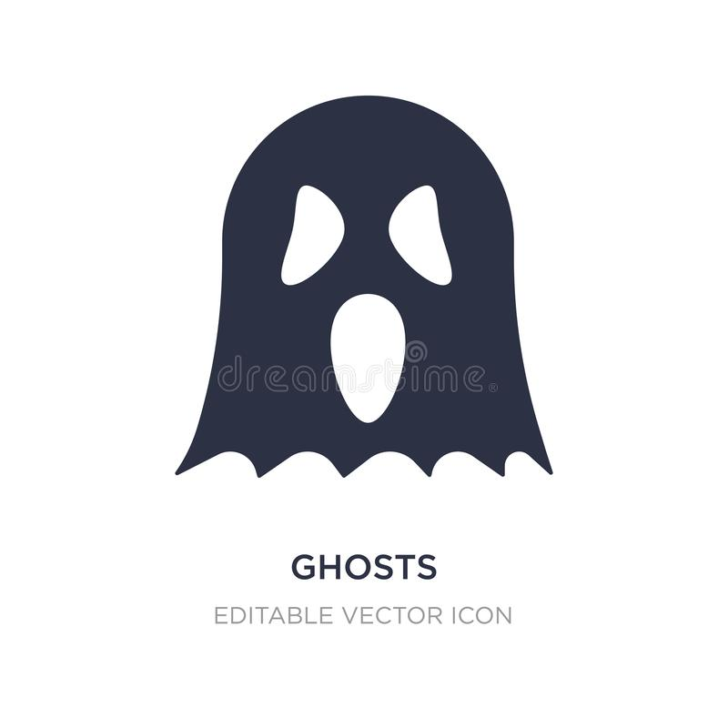 在白色背景的鬼魂象 从万圣节概念的简单的元素例证 向量例证