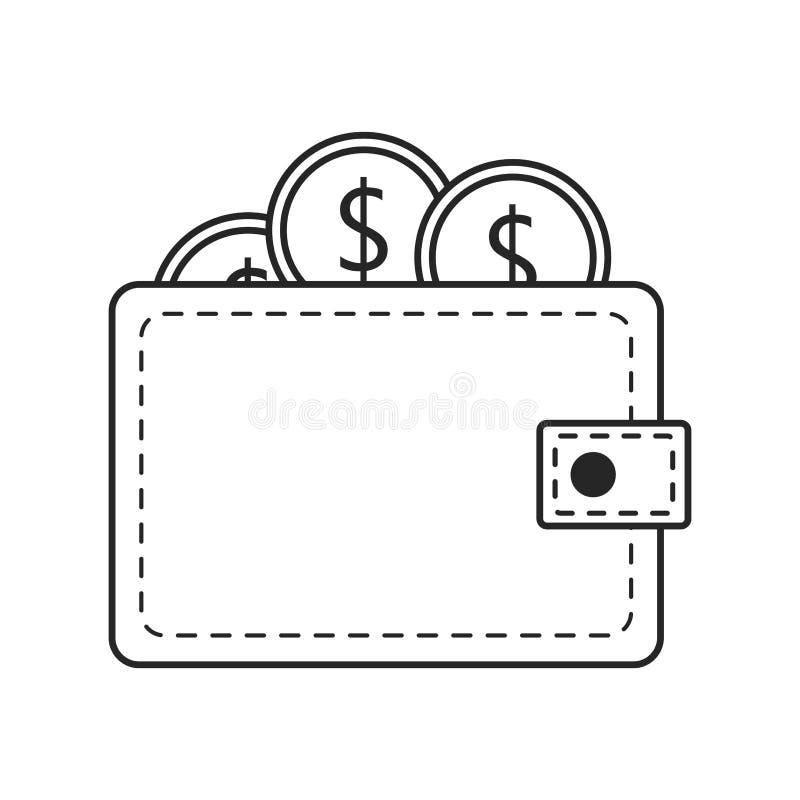 在白色背景的钱包平的象,任何场合的 库存例证