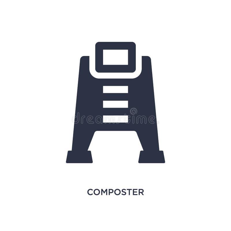 在白色背景的composter象 从种田的和从事园艺的概念的简单的元素例证 向量例证