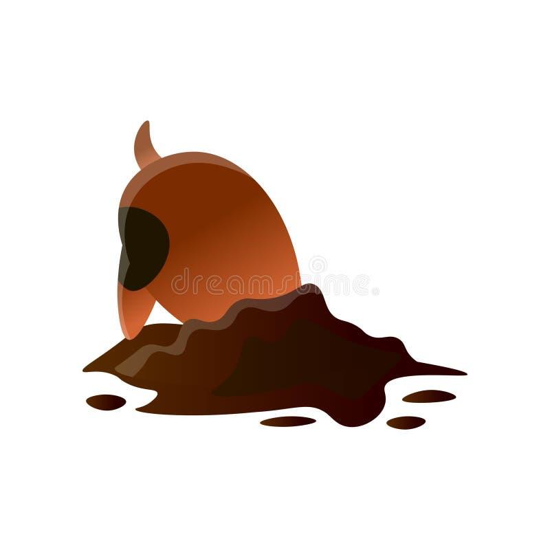 在白色背景隔绝的布朗动画片脏狗开掘的孔 皇族释放例证