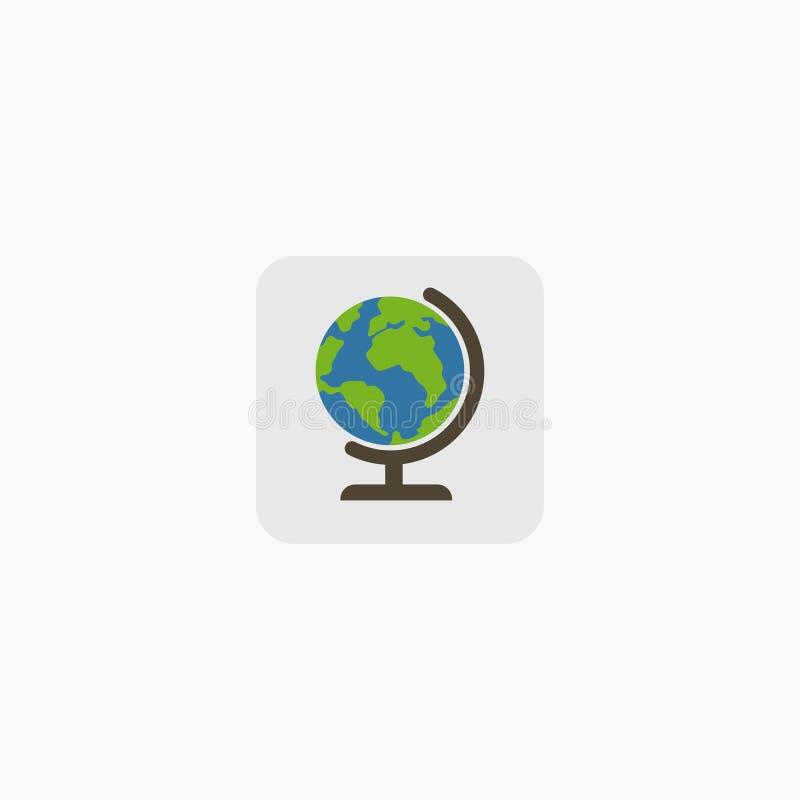 在白色背景隔绝的地球地球 平的行星地球象 也corel凹道例证向量 10 eps 皇族释放例证