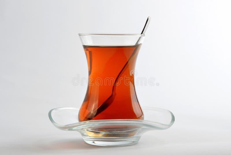 在白色背景隔绝的土耳其茶 图库摄影